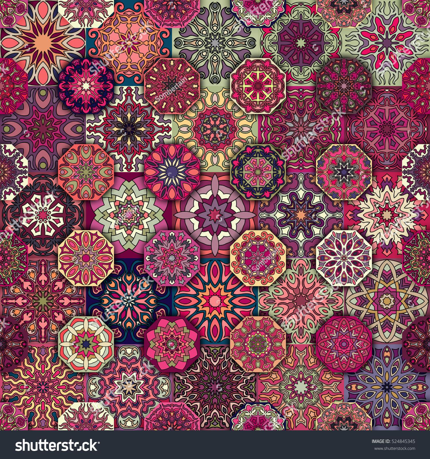 Colorful Vintage Seamless Pattern Floral Mandala Stock