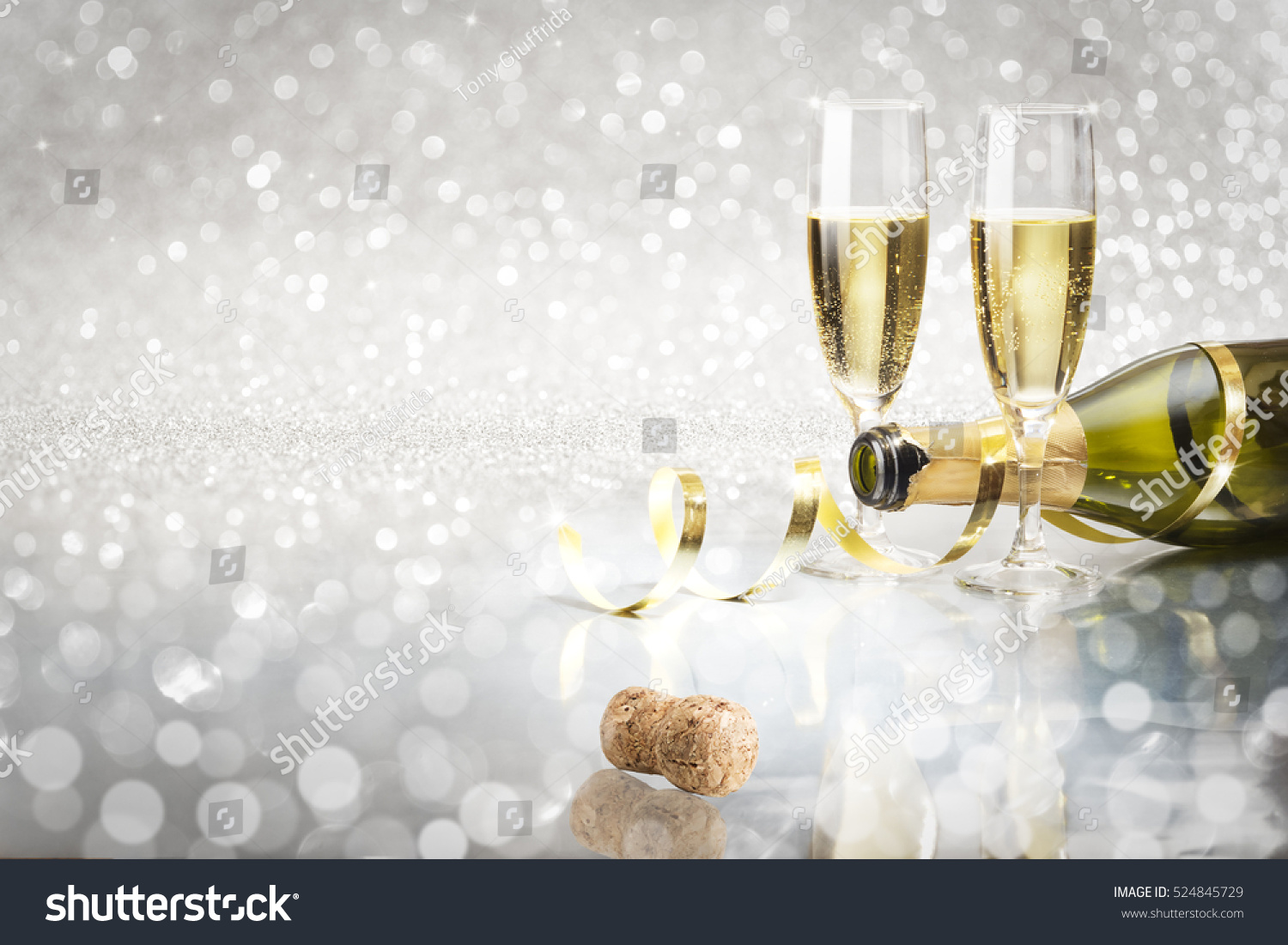 toast champagne new year silver background flutes