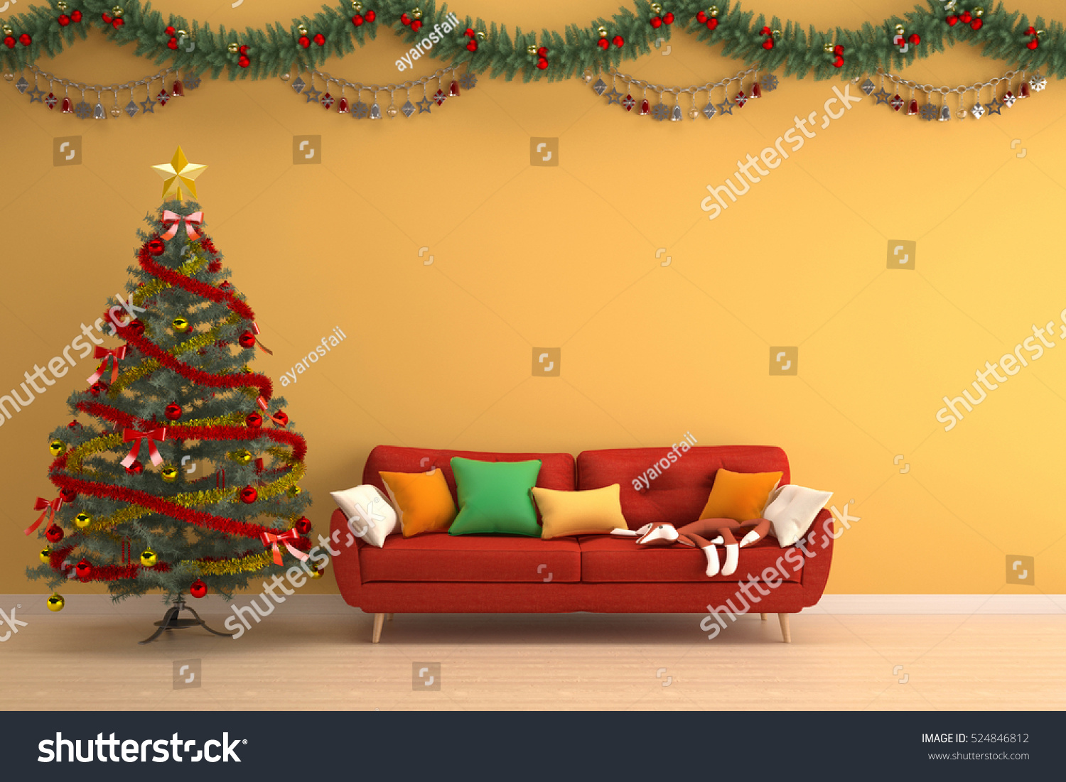 Christmas Tree Yellow Living Room Red Stock Illustration 524846812 ...