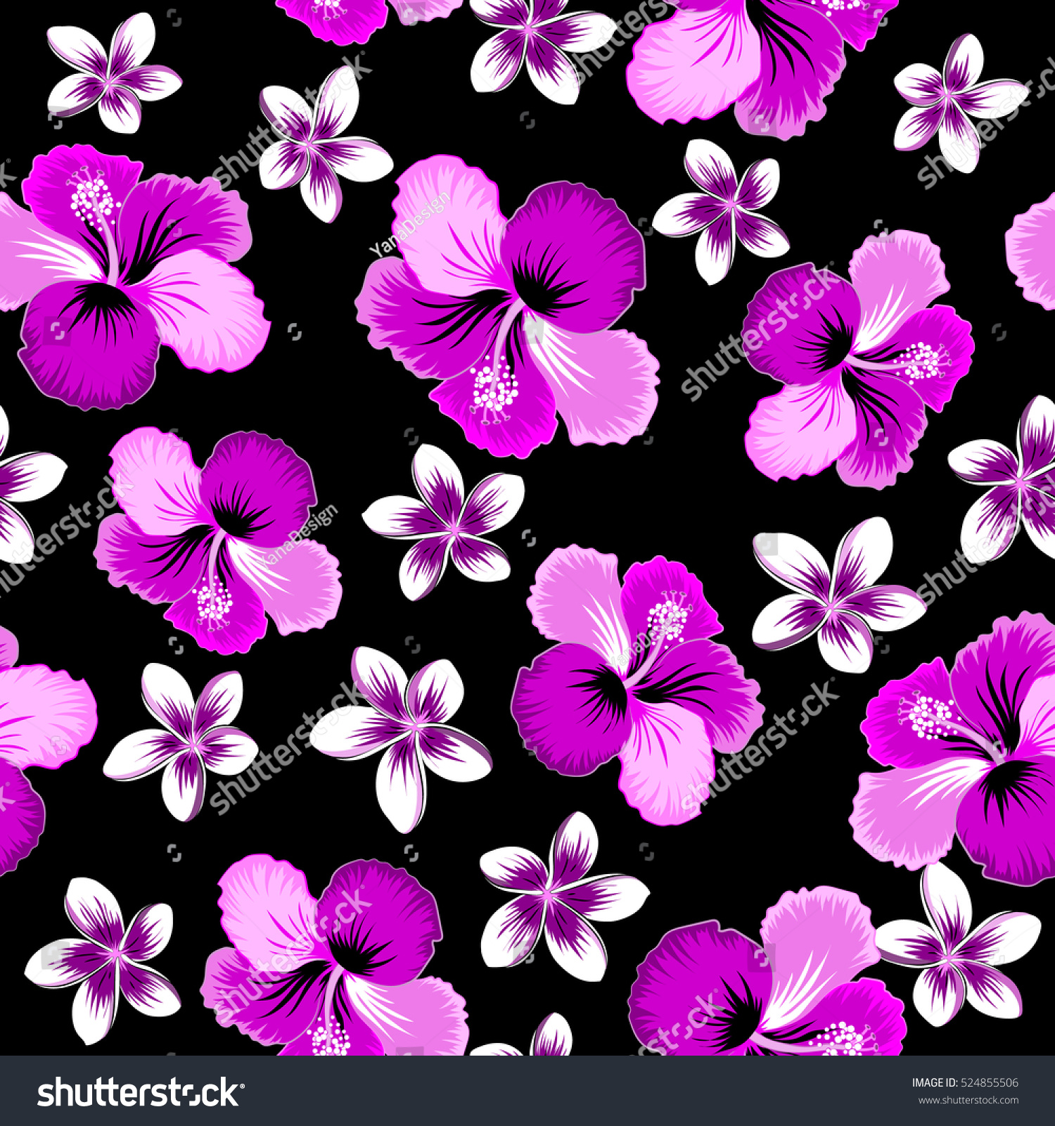 Various Hibiscus Hawaiian Tropical Flowers In Pink Purple And