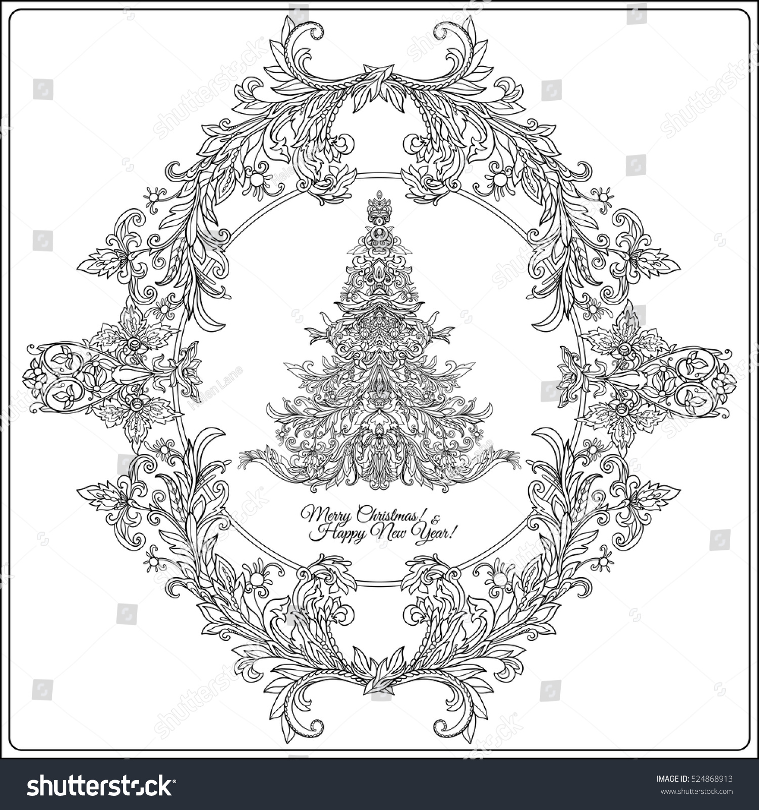 Decorative Christmas Tree Medievalstyle Frame Outline Stock Vector