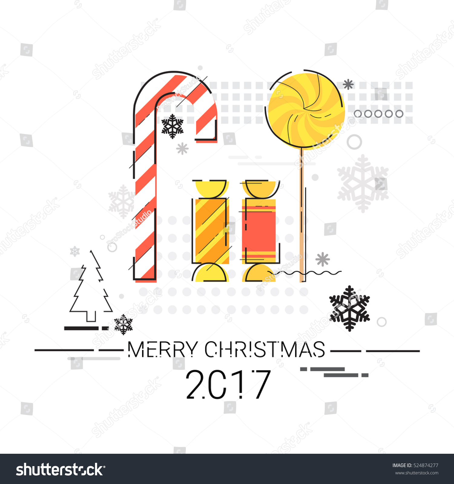 Easy Year To Travel On Christmas: Merry Christmas Happy New Year Simple Line Sketch Banner