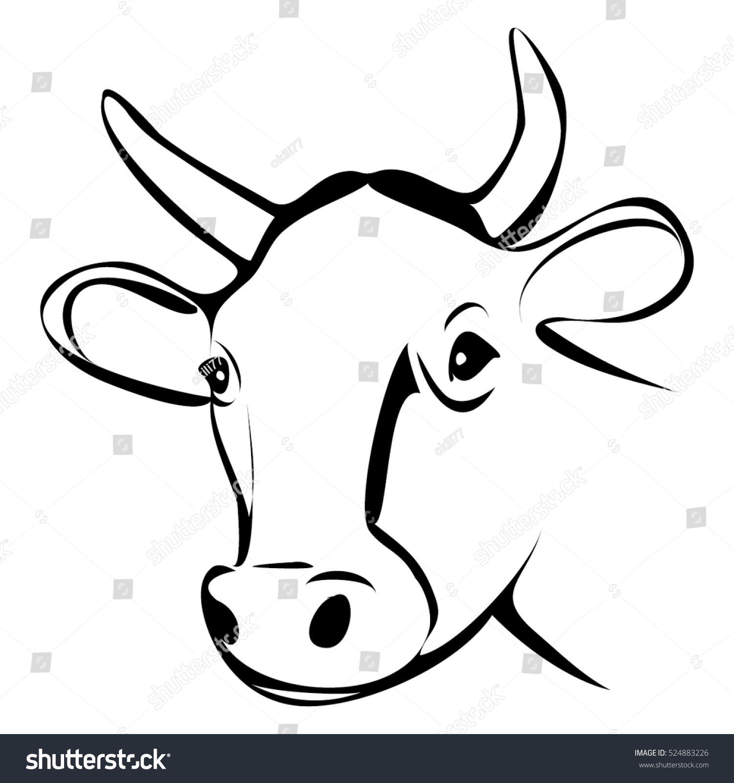 cow head outline vector stock vector 524883226 shutterstock