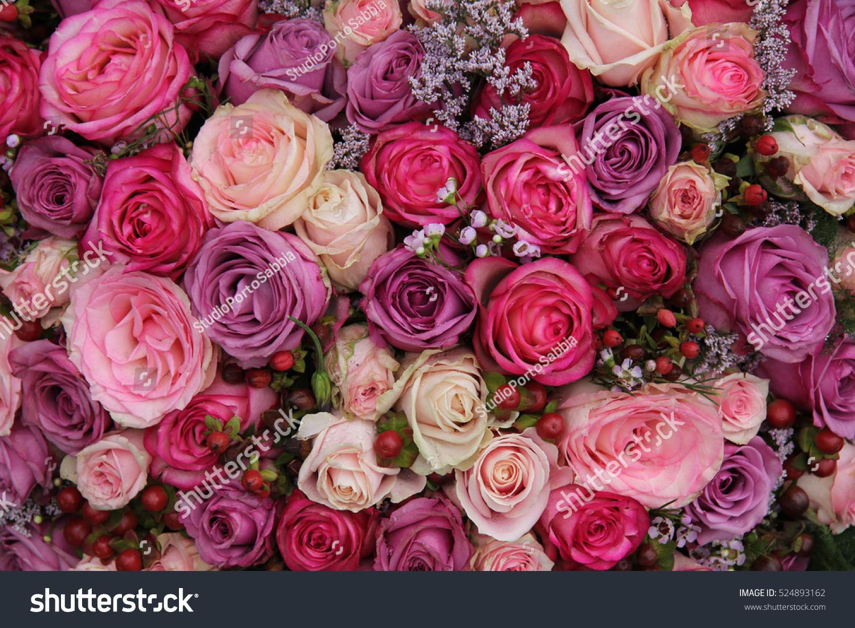 Pink Purple Roses Wedding Flower Arrangement Stock Photo Edit Now