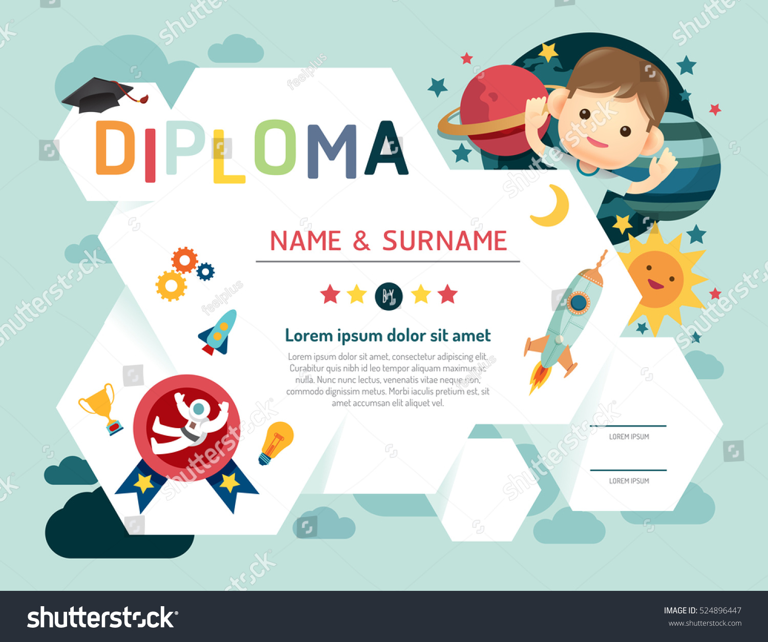 Certificate kids diploma, kindergarten template layout space background frame design vector. education preschool concept.