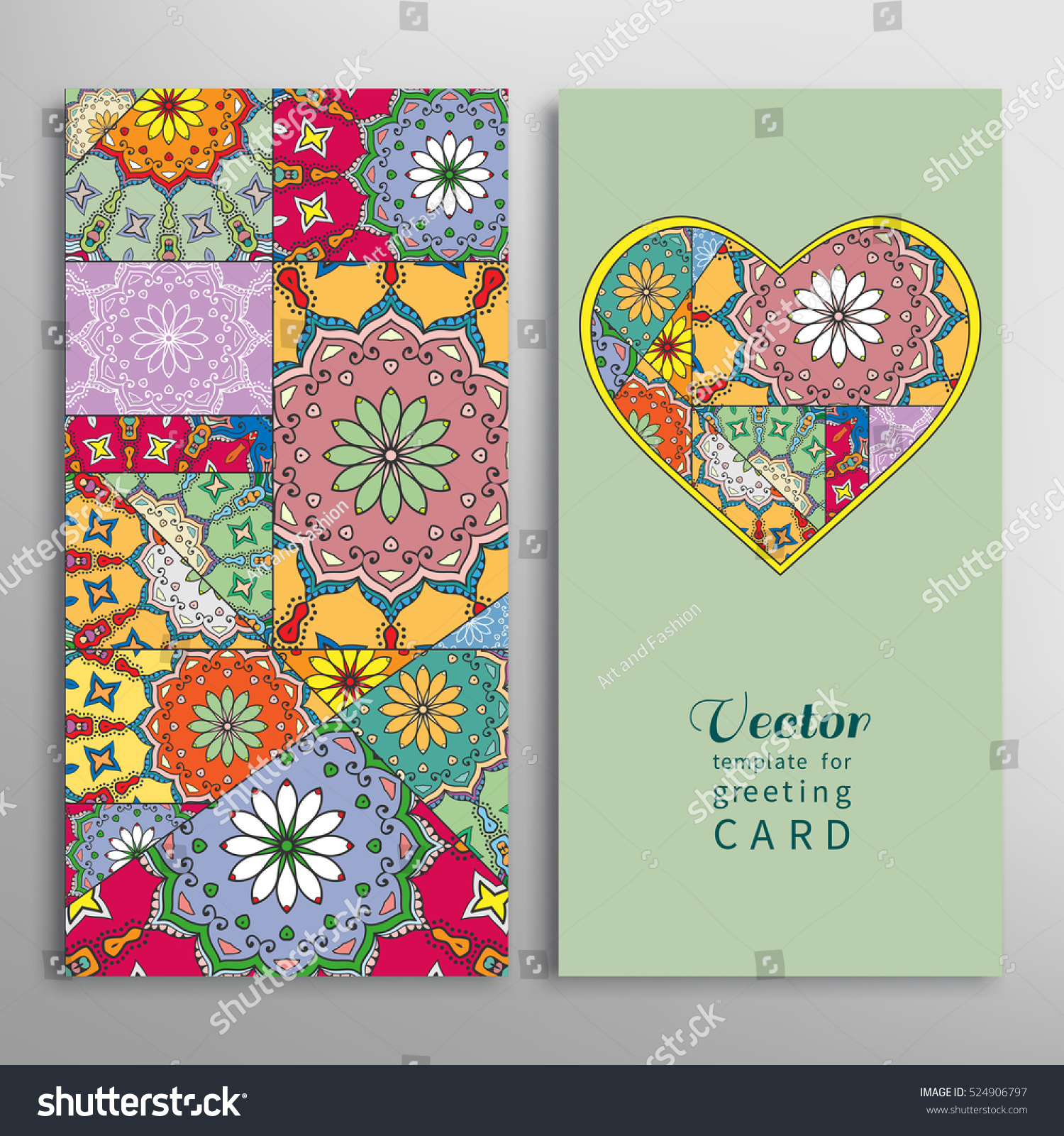 Card Invitation Ornate Collage Heart Background Stock Vector