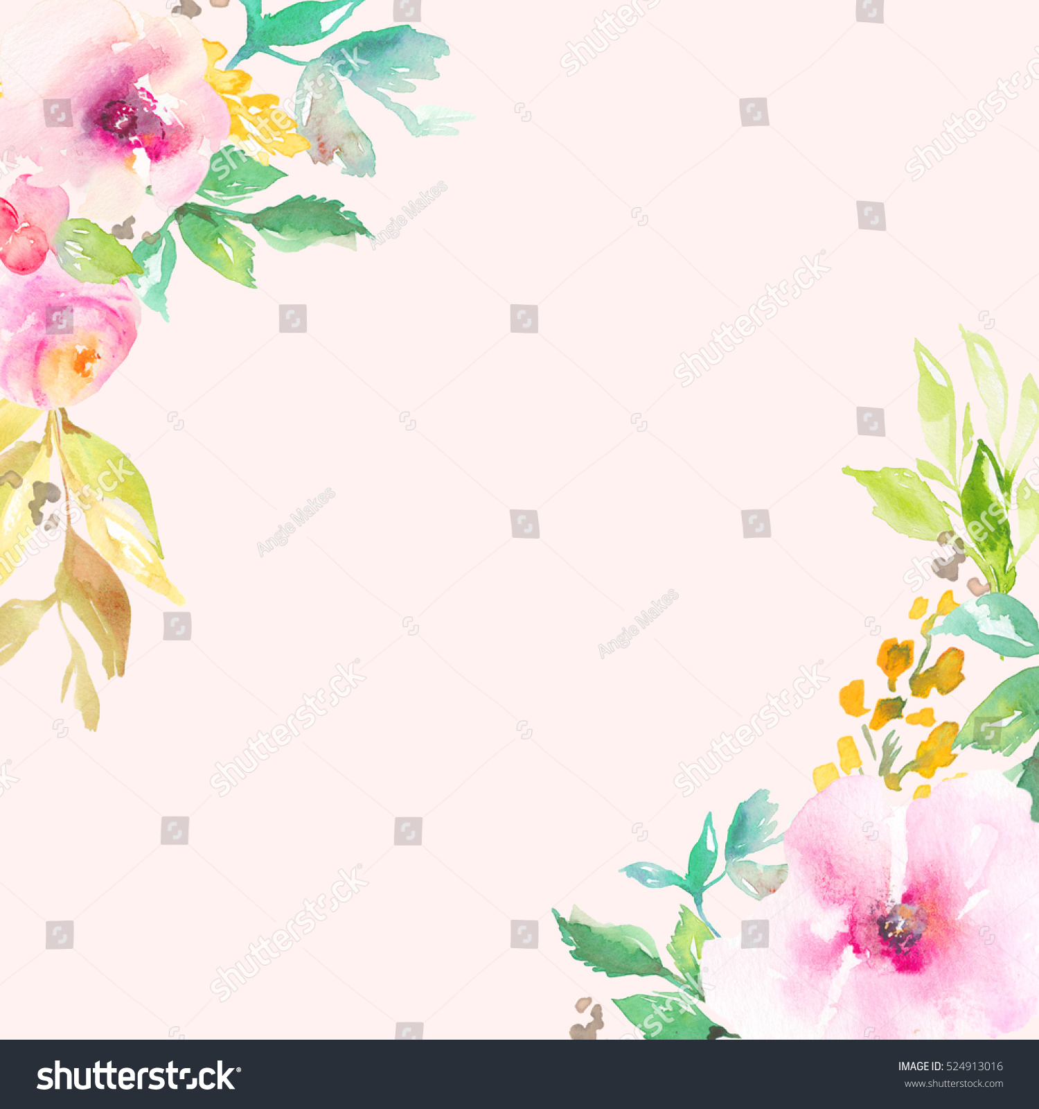 pink watercolor flower frame watercolor flowers stock illustration