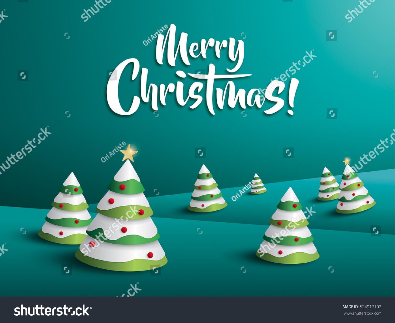 merry christmas landscape christmas tree stock vector 524917102