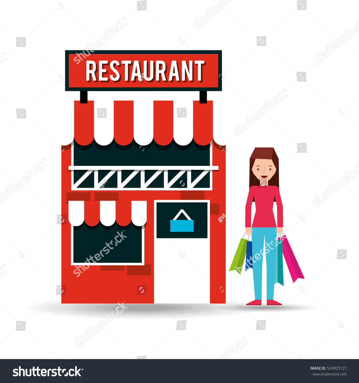 For restaurant pictures graphics illustrations clipart photos - Girl Restaurant Shopping Gift Buying Vector Illustration Eps 10