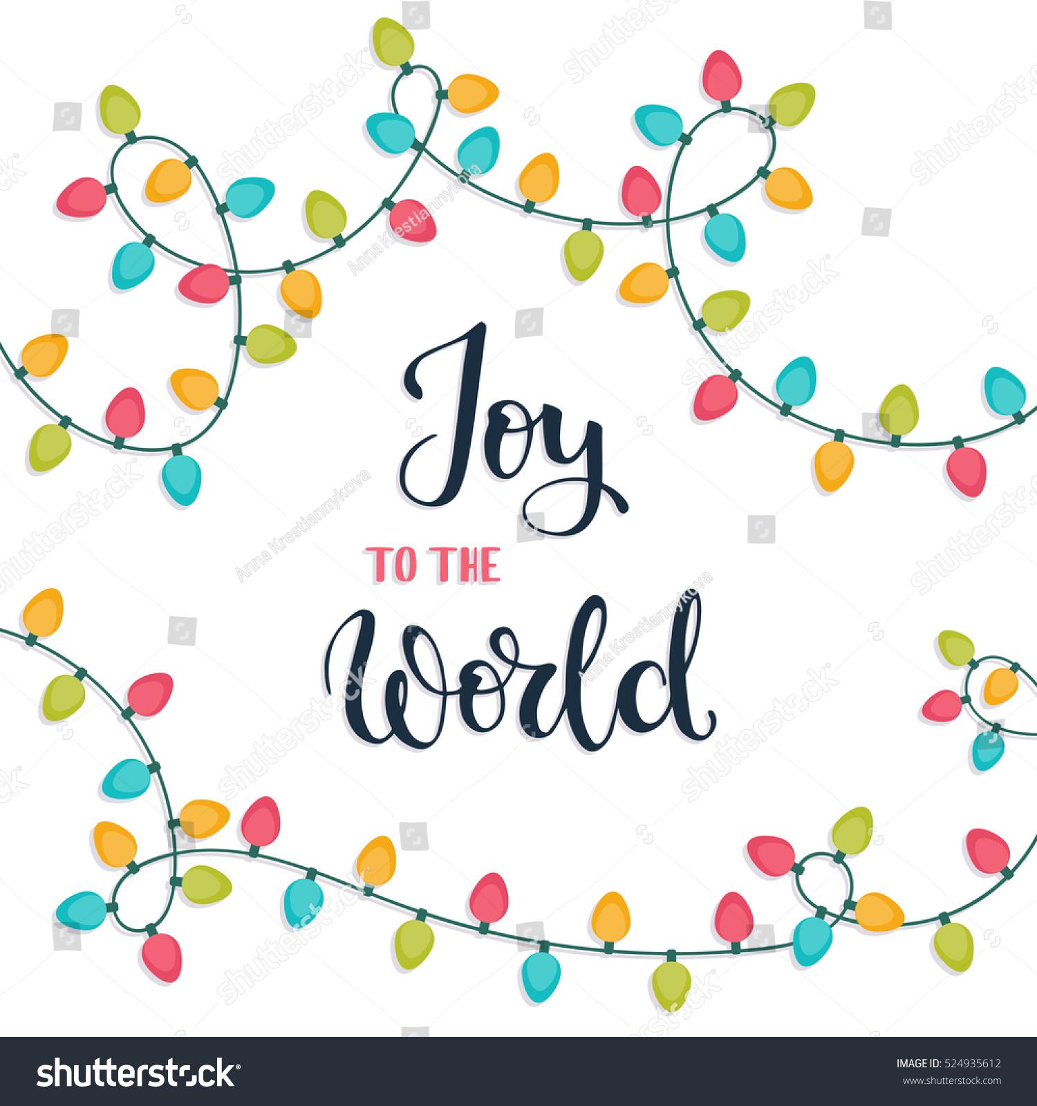 Joy world christmas hand lettering card stock vector