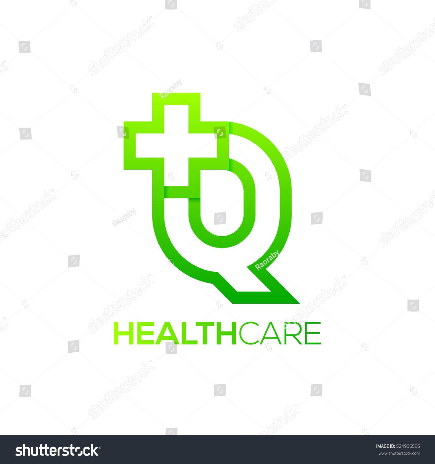 Letter Q cross plus logo Green color,Medical healthcare hospital Logotype