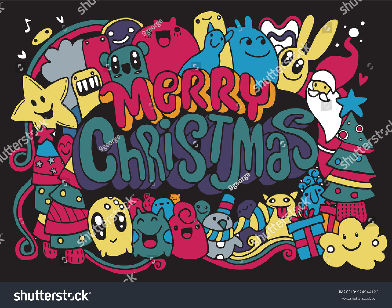 hand drawing cartoon charactermerry christmas vector stock vector