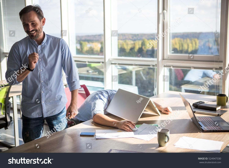 Businessman Sleeping On Table Laptop Computer Stock Photo ...