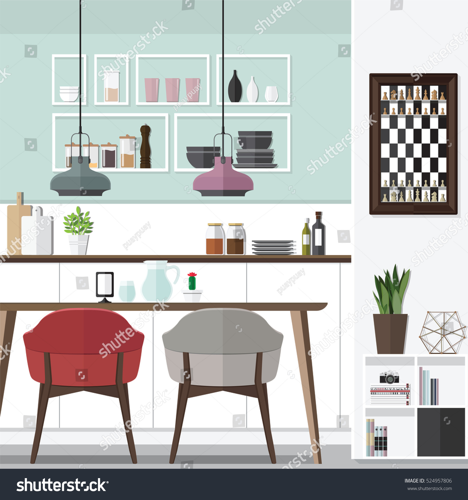 Kitchen furniture set cozy room interior stock vector for Kitchen set vector