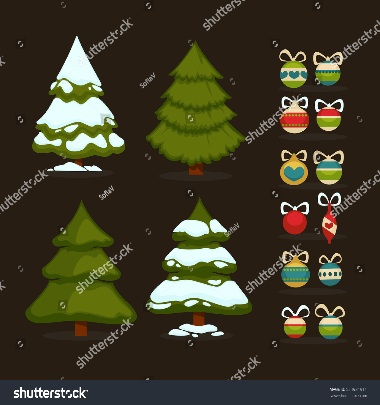 Christmas Tree Decoration Elements: Christmas Tree Set Green Trees Decoration Stock Vector