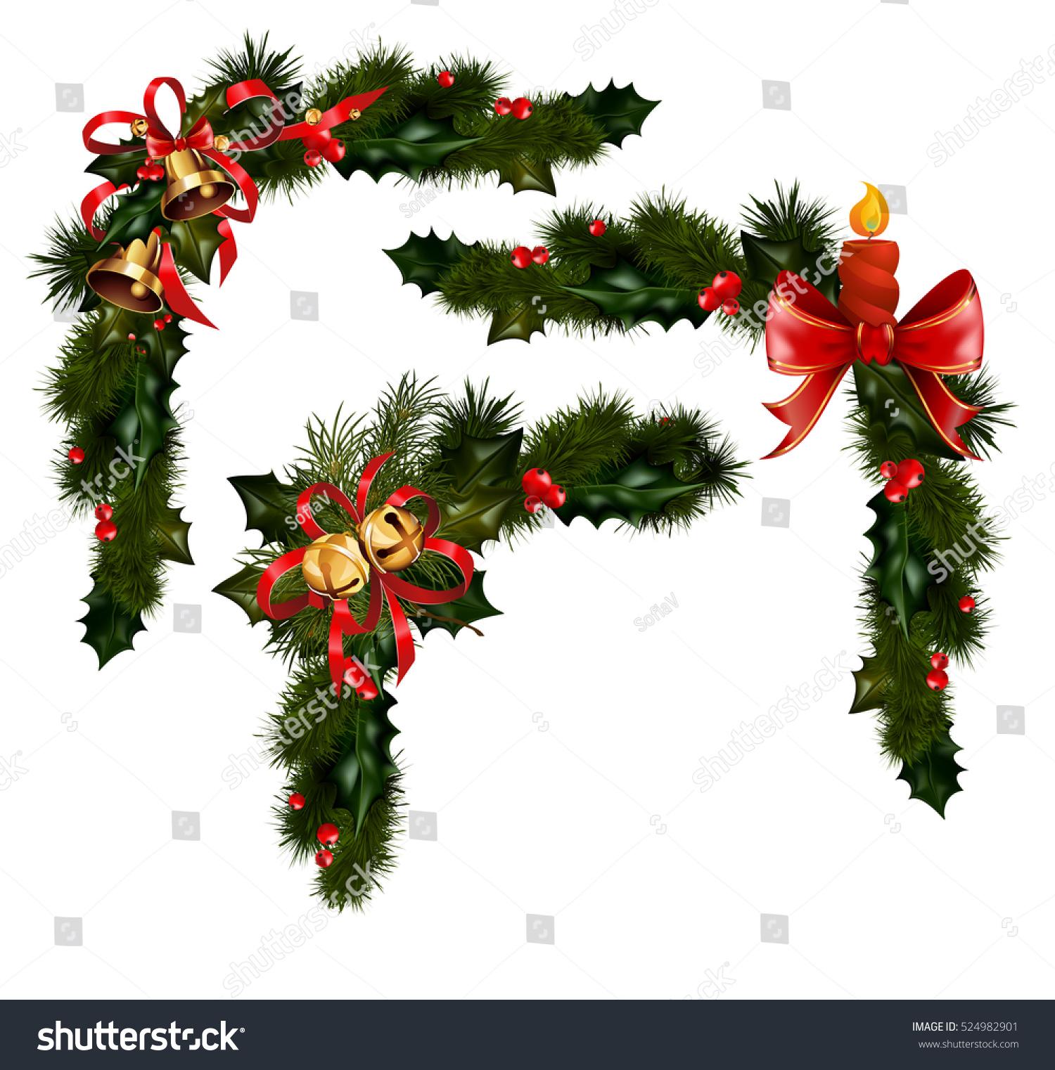christmas decorations fir tree golden jingle stock vector