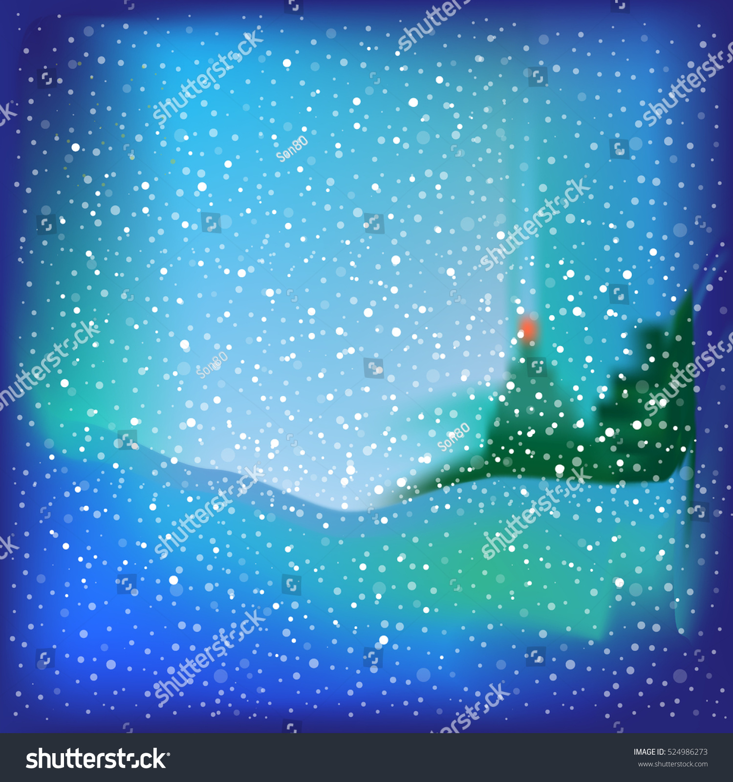 Blue background with snow and Christmas tree vector