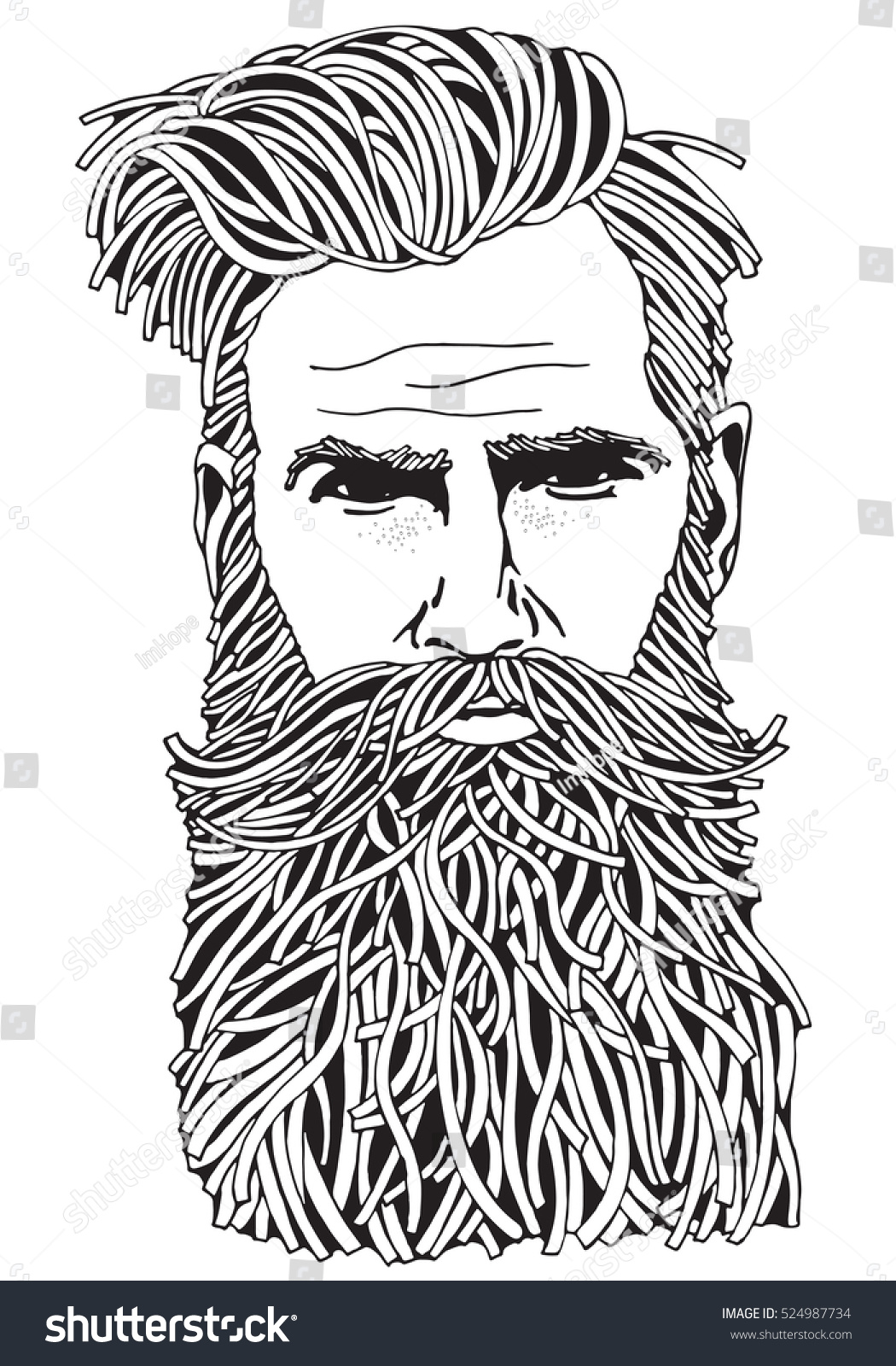 Bearded Hipster Man Coloring Book Page Stock Illustration