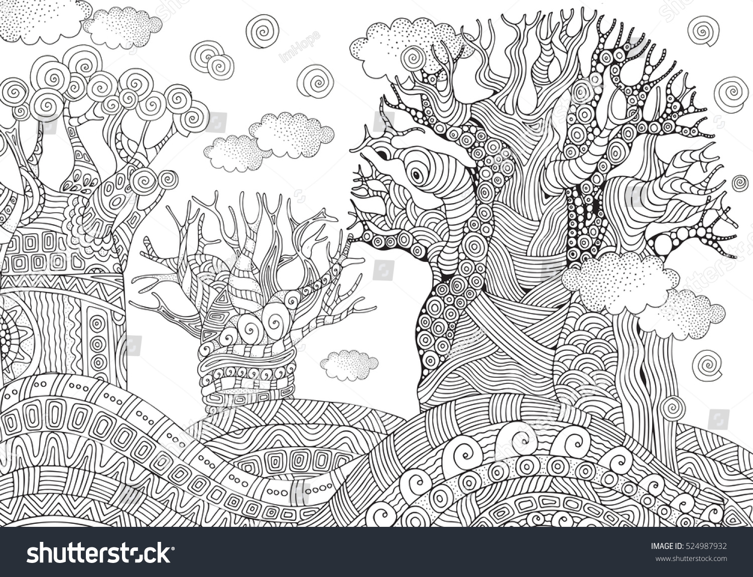 Baobab Tree African Tree Coloring Book Stock Illustration ...