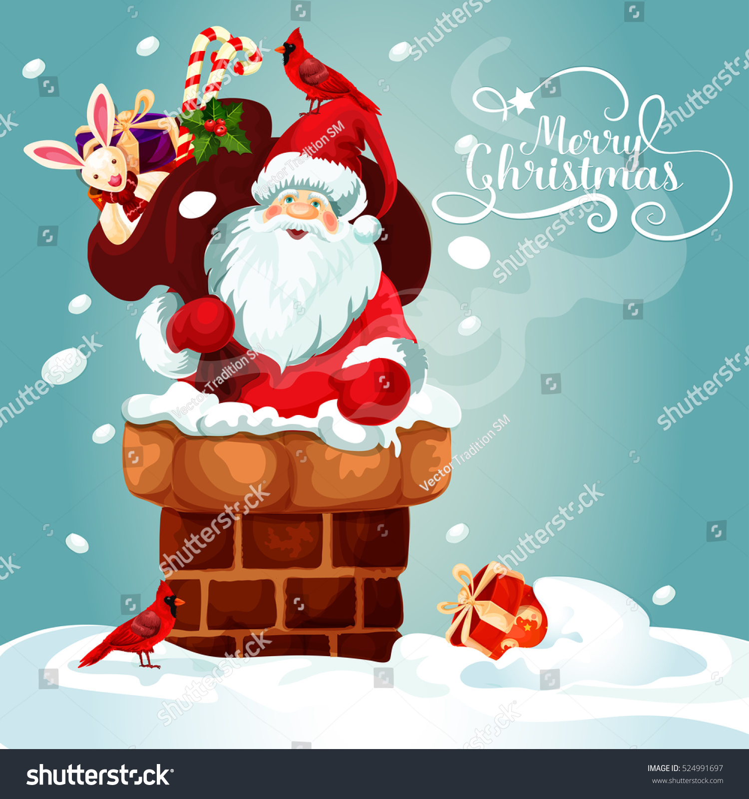 christmas card with santa claus on the roof santa with gift bag full of present - Santa Claus Christmas Cards