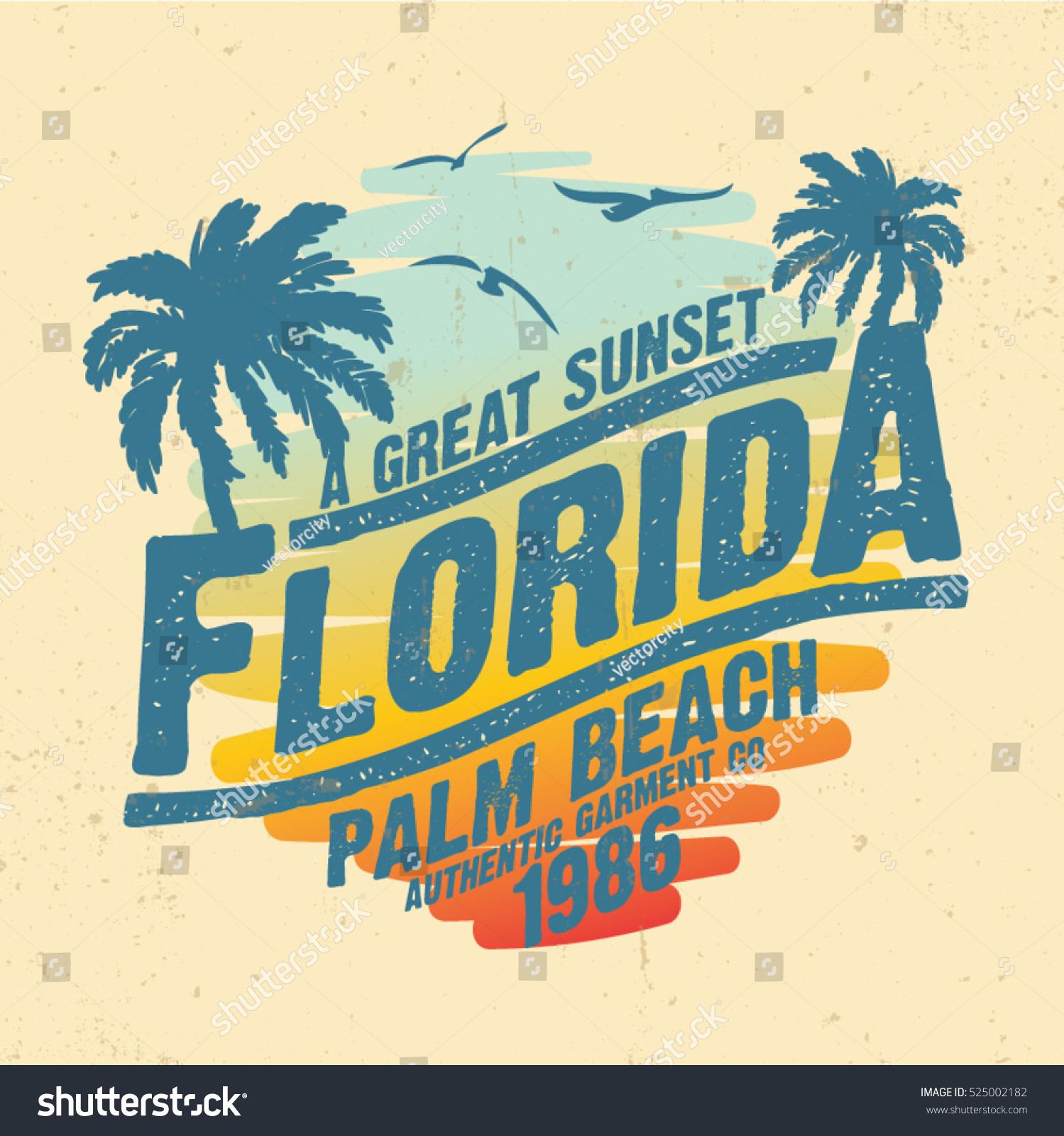 Tropical Sunset Surf Beach Vintage Beach Stock Vector