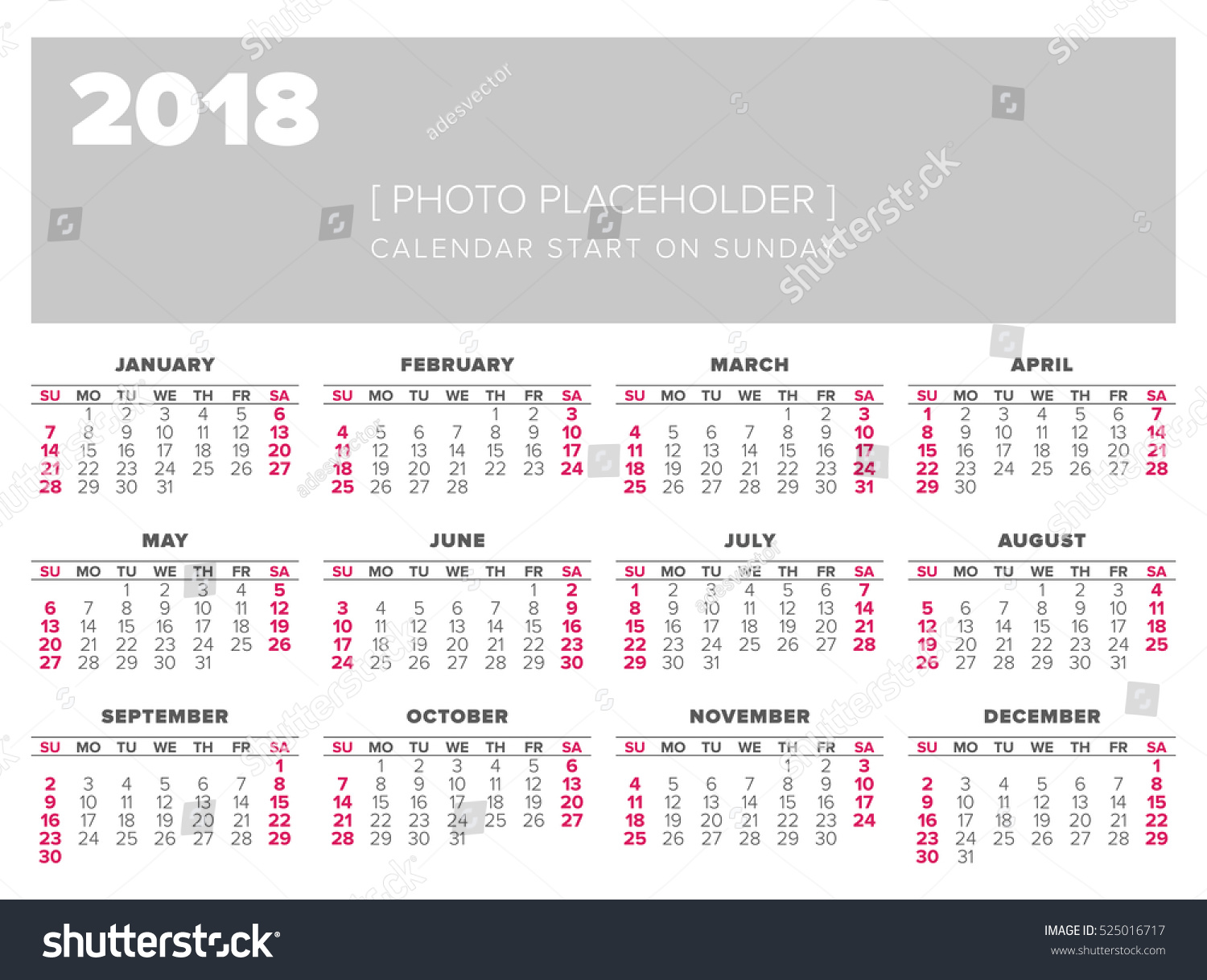 Year Calendar Starting : Simple year calendar start on sunday stock vector