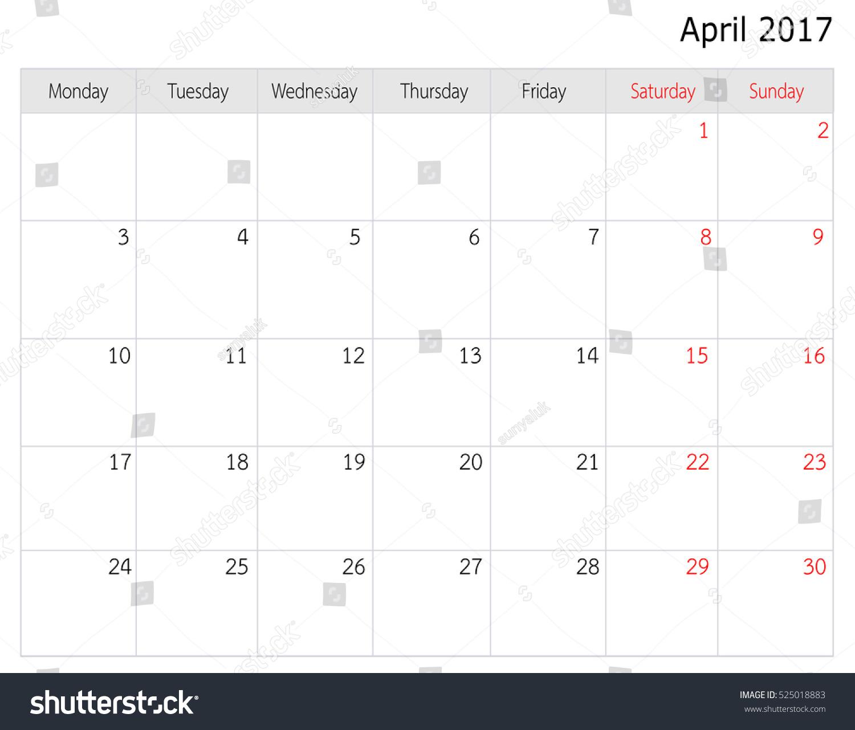 April 2017 Calendar Template Big Space Stock Illustration 525018883