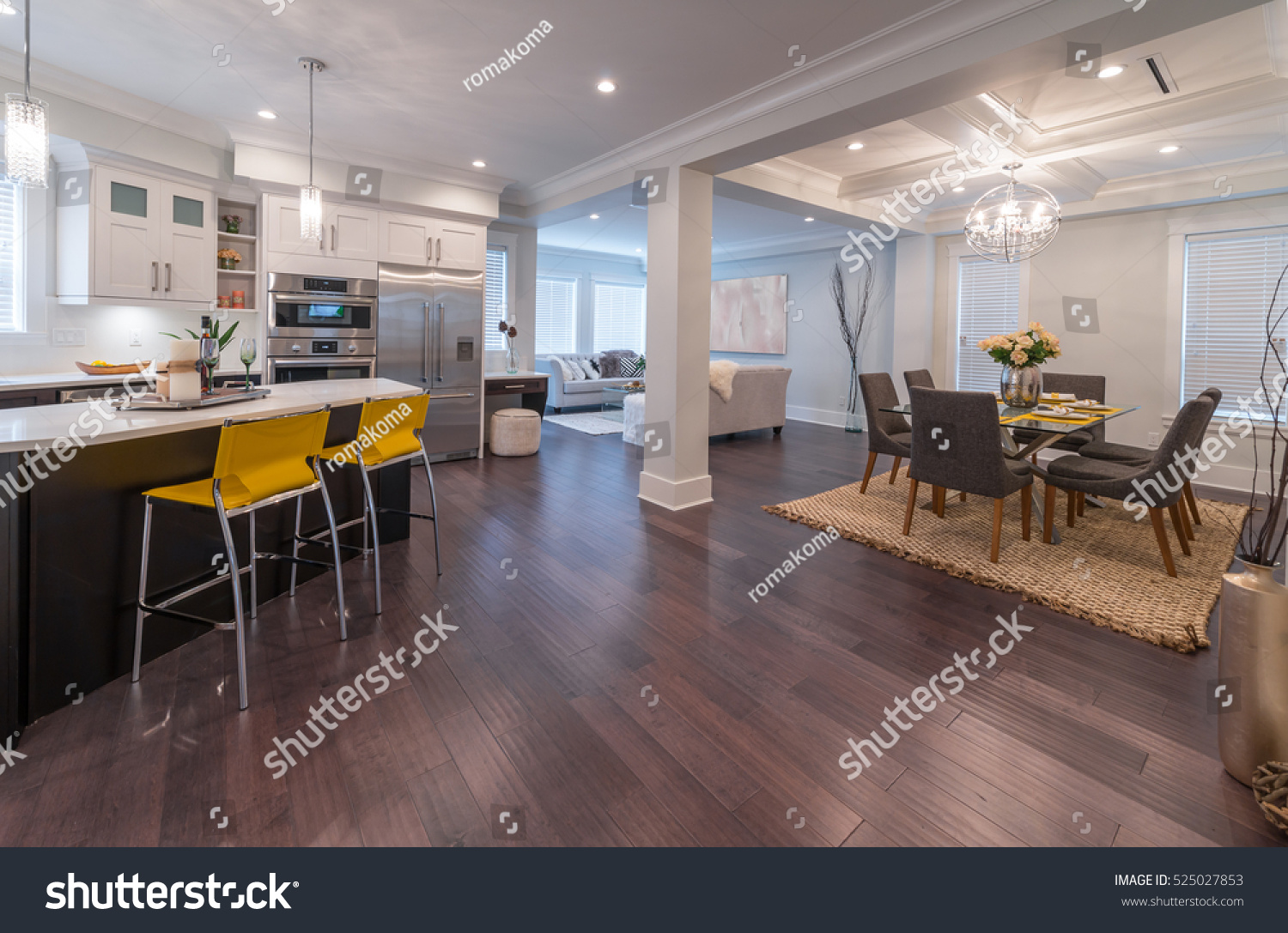 Luxury modern kitchen dining room area stock photo for Dining area interior