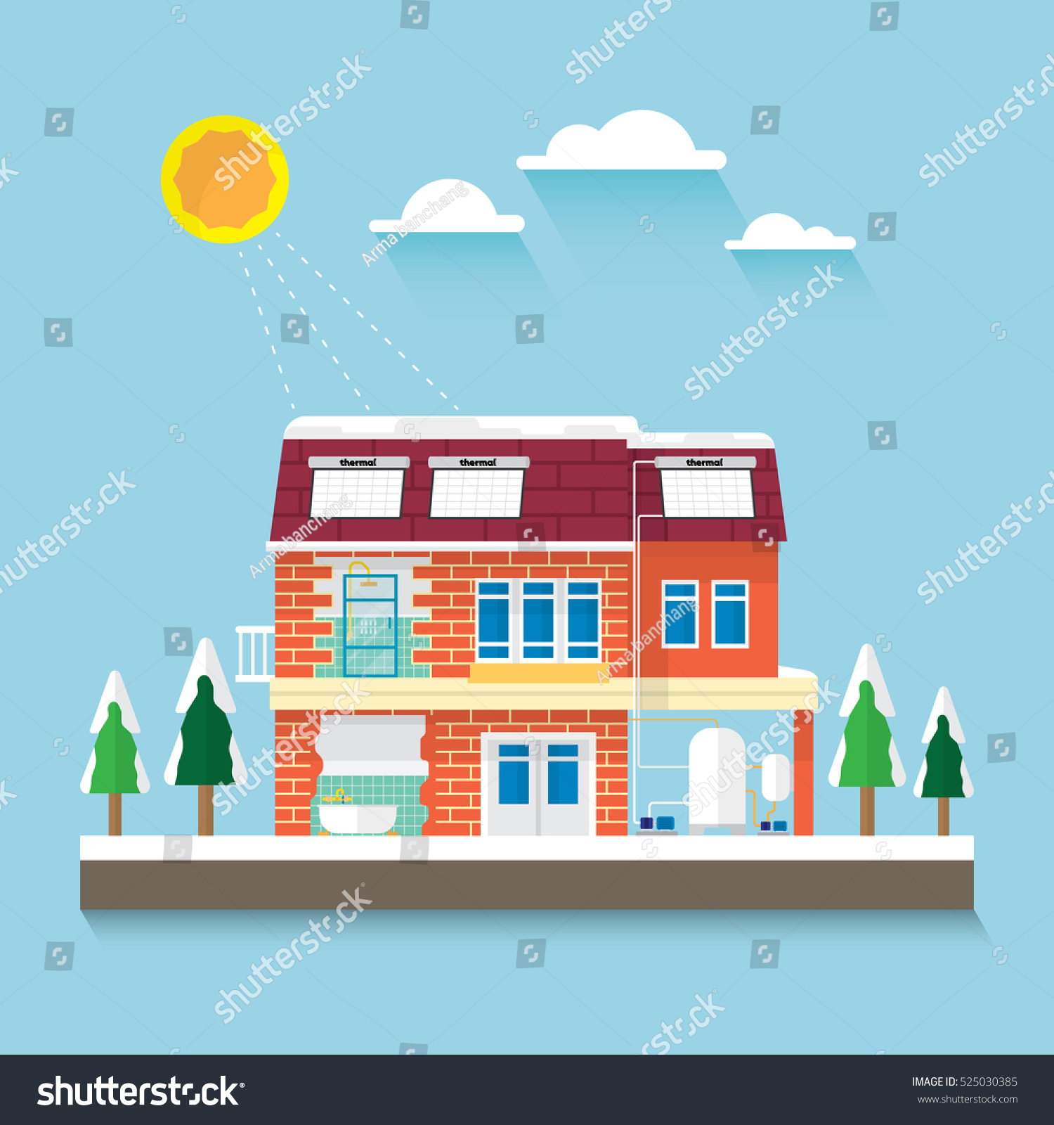 House Install Solar Thermal System Stock Vector