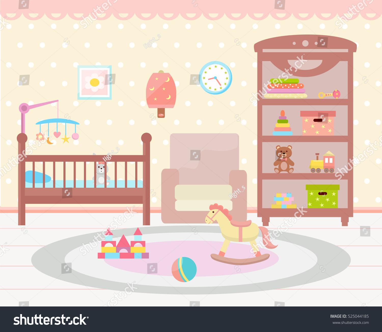 Baby Room Interior Flat Design Baby Stock Vector 525044185 - Shutterstock