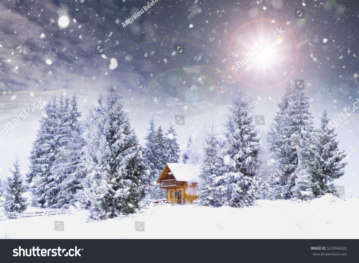 Fairytale Cottage Woods Winter Christmas Concept Stock Photo 525096028