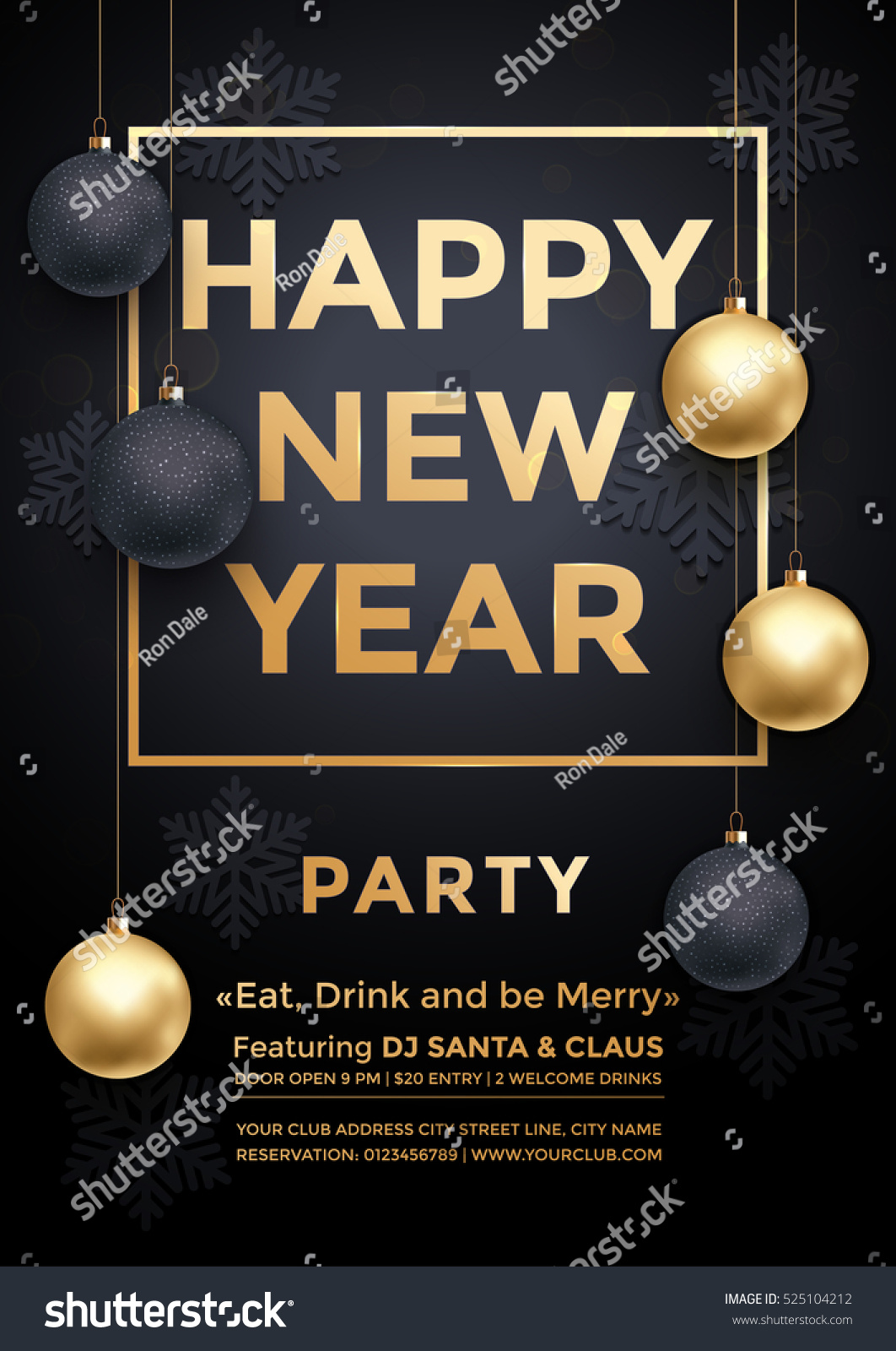 party december new year winter holiday club invitation poster premium calligraphy lettering with gold ornament