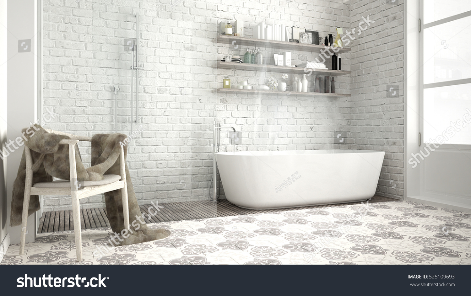 Scandinavian Bathroom Classic White Vintage Interior Stock ...