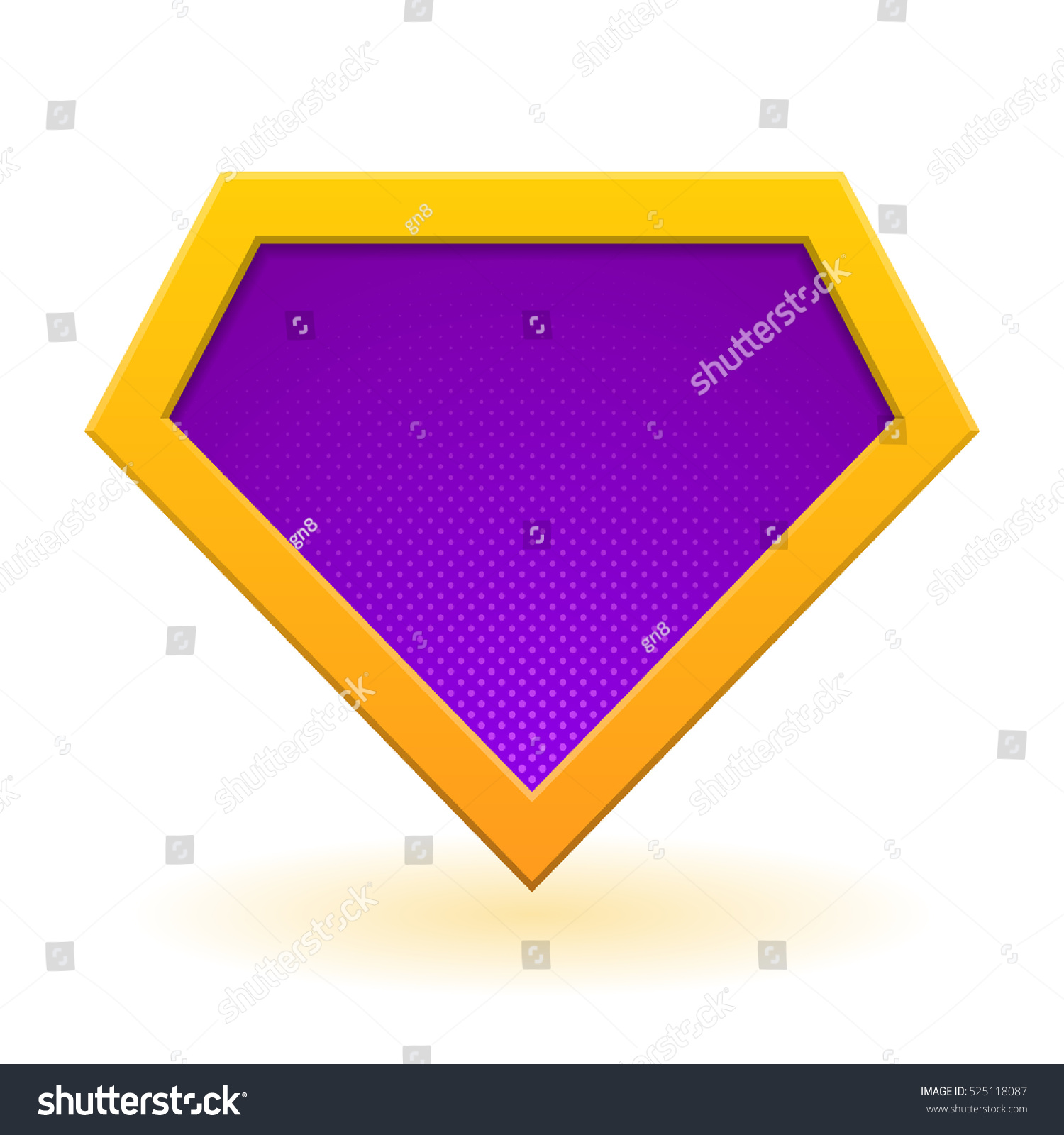 Golden Purple Superhero Logo Template Halftone Stock Vector Royalty