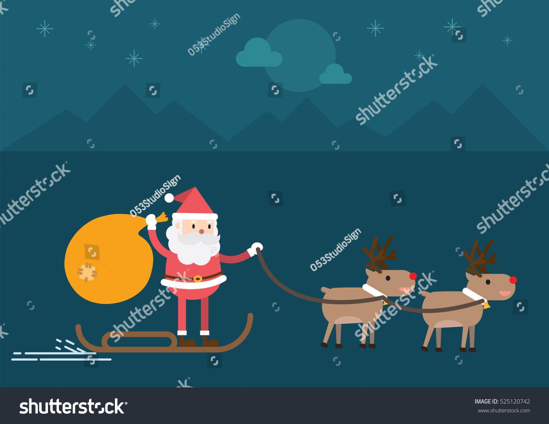santa claus driving sledge reindeer christmas stock vector