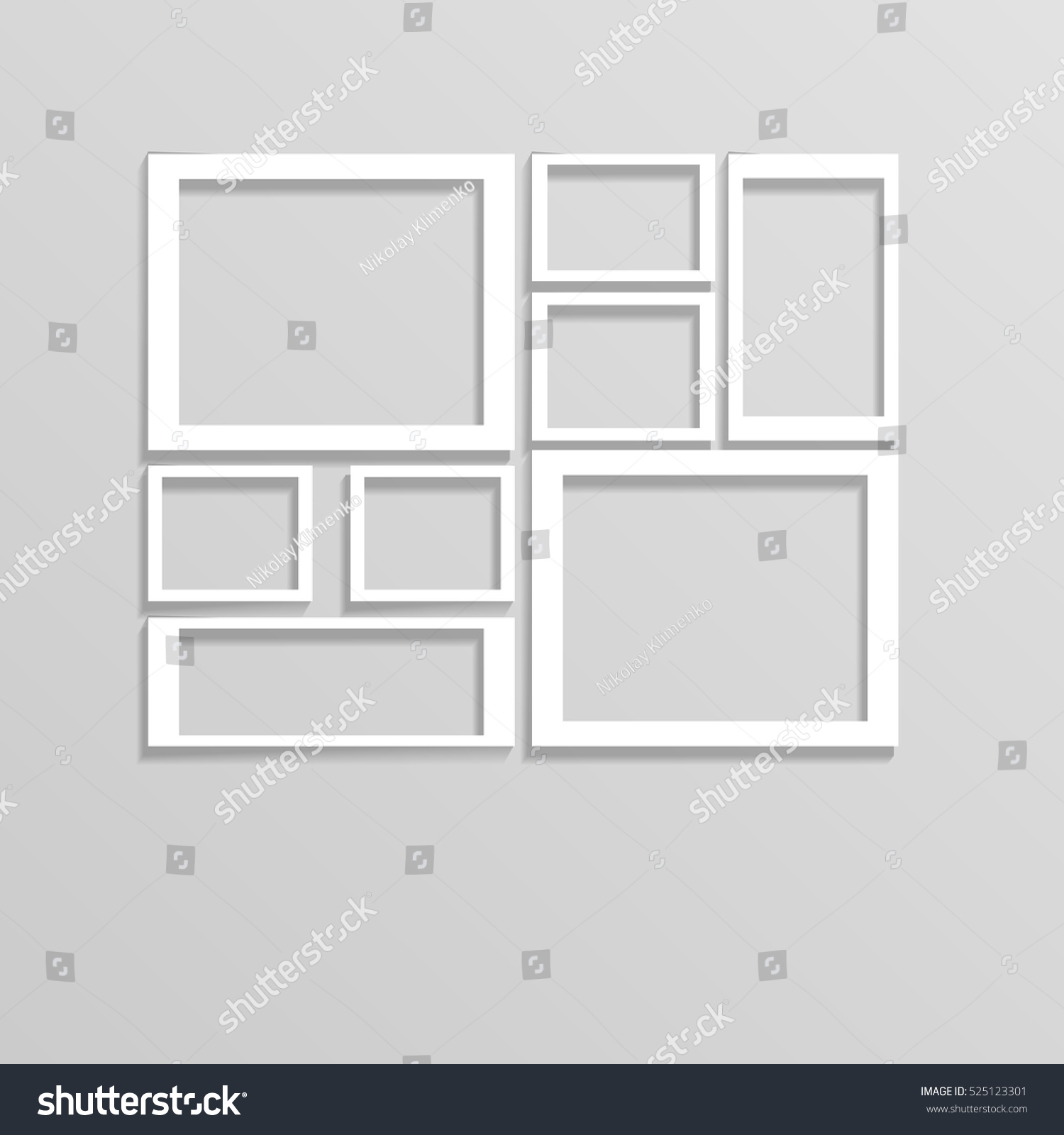 white wall frames collage mockup eps 10 vector