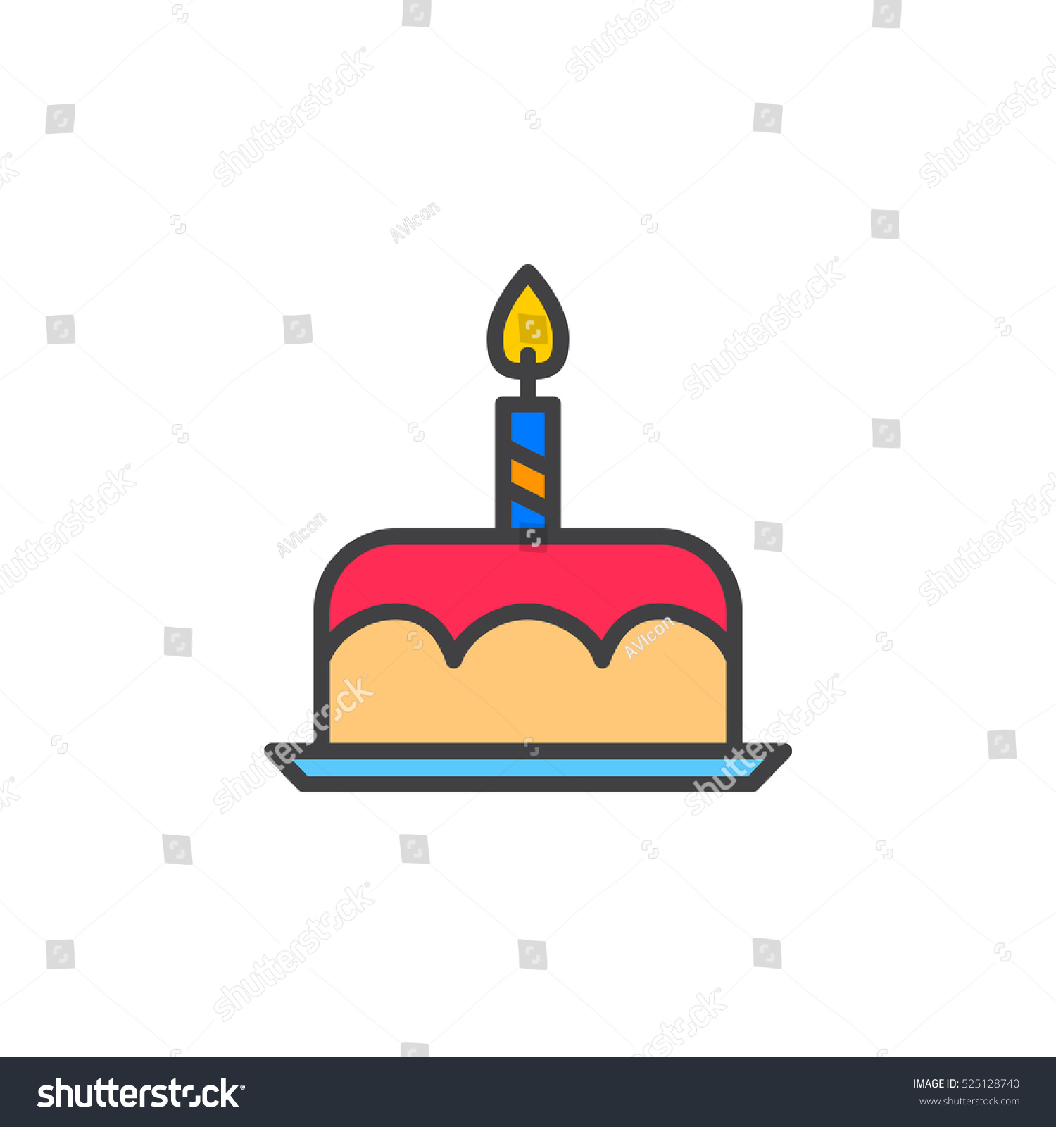Birthday Cake Line Icon Filled Outline Stock Vector Royalty Free