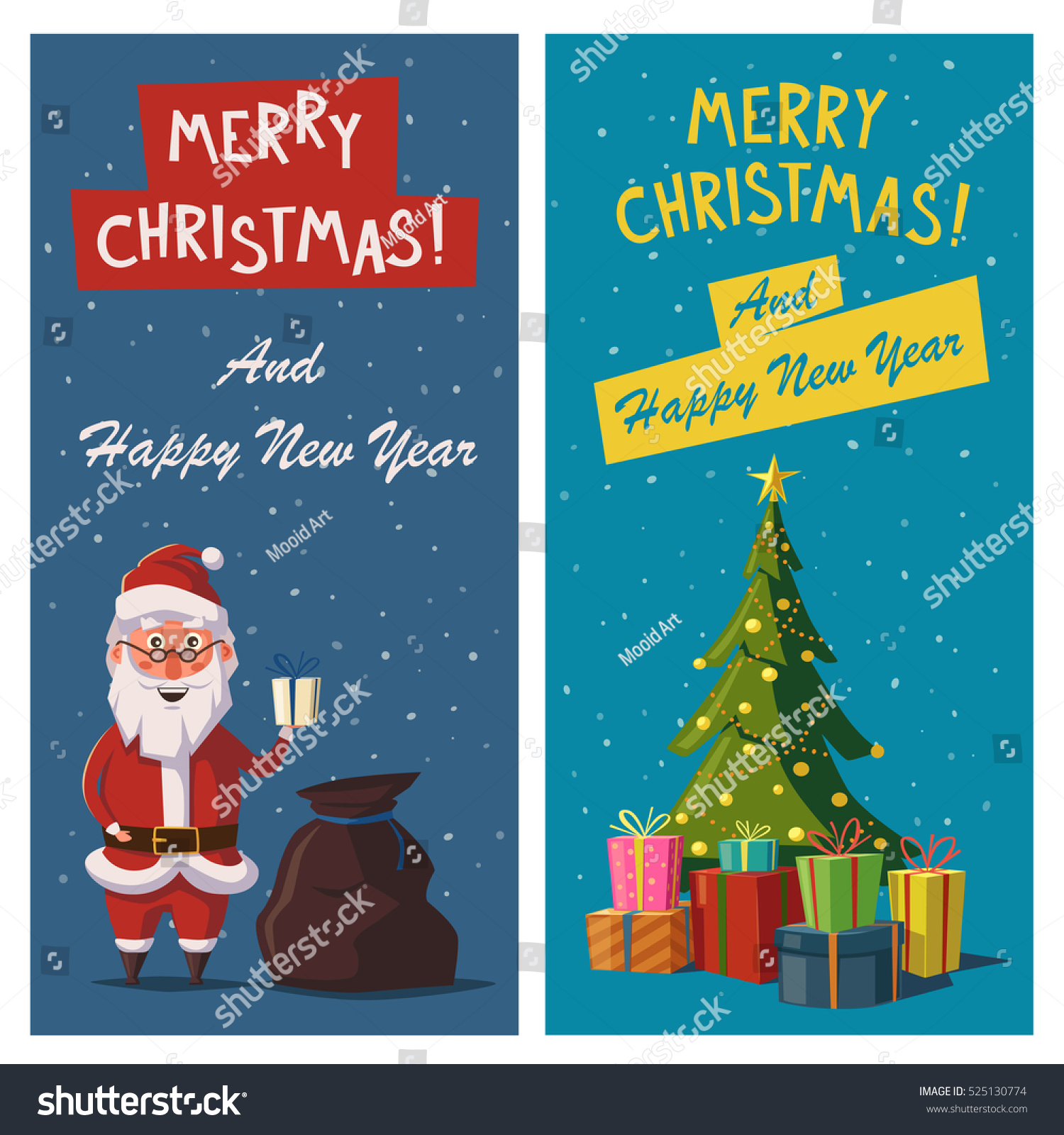 Merry Christmas Happy New Year Banners Stock Vector Royalty Free