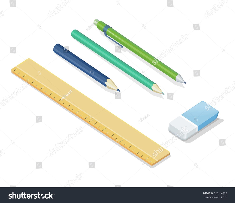 Pencils ballpoint pen eraser ruler vector illustrations in isometric projection