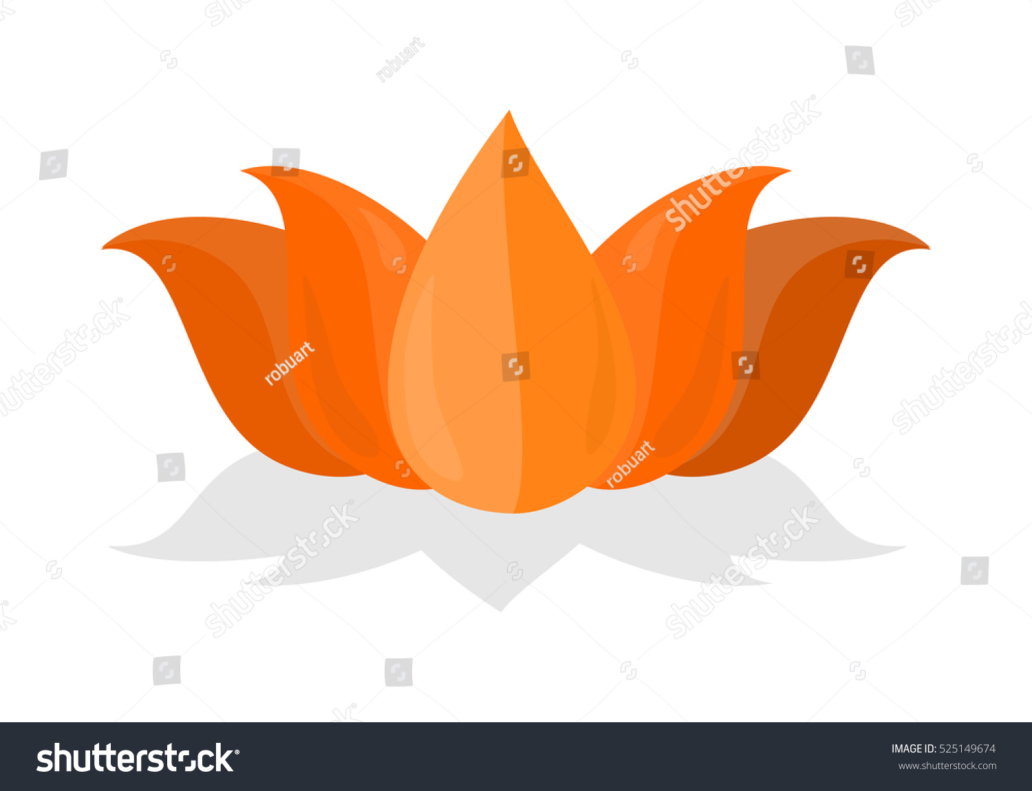 Lotus Flower Isolated On White Background Stock Vector 525149674