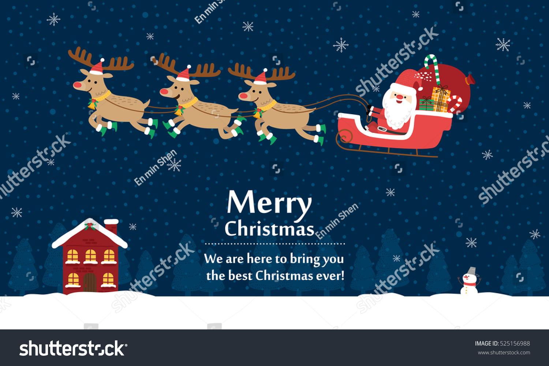 Santa Claus Reindeer Sleigh Vector Illustration Stock ...