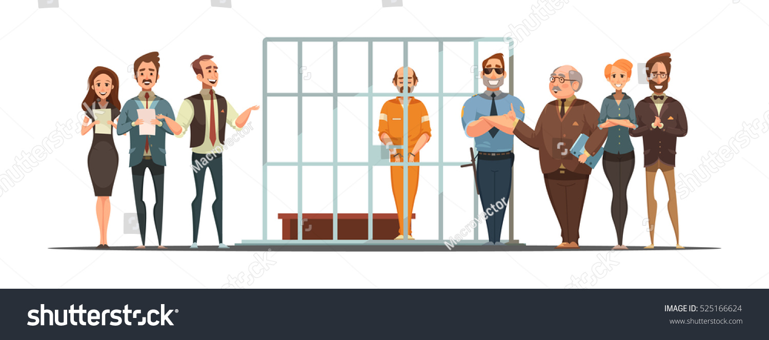 Business team cartoon characters cartoon vector cartoondealer com - Law And Justice Retro Cartoon Poster With Sentence Announcement And Convict Behind Bars White Background Vector