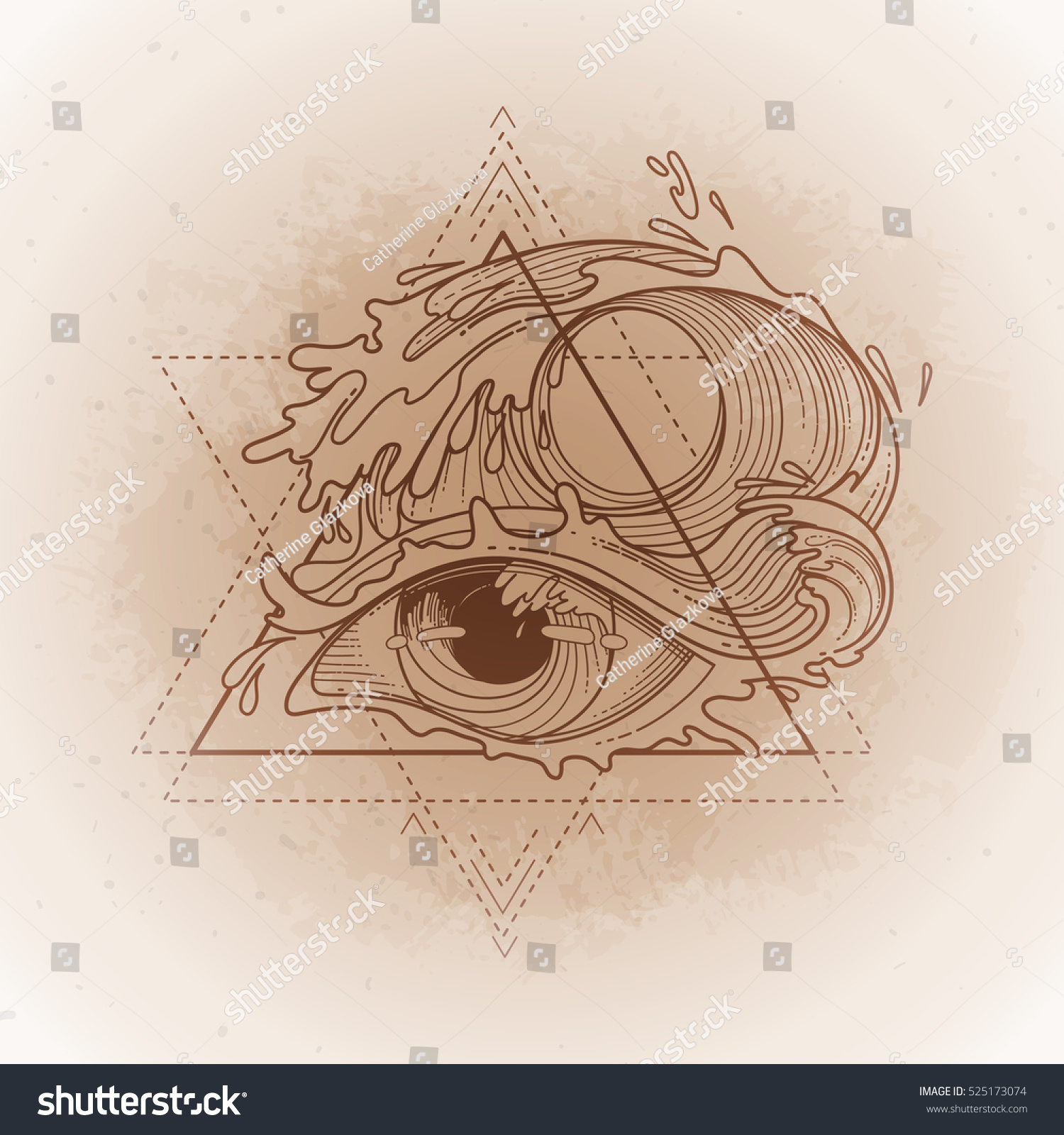 Abstract Graphic Eye Decorated Storm Waves Stock Vector Royalty