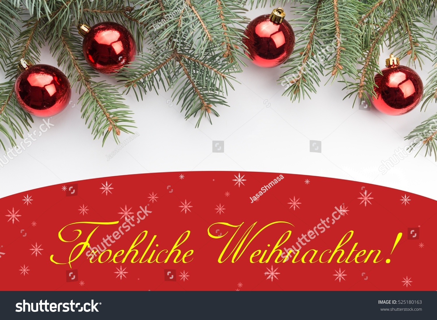 Christmas Decoration Background Message Froehliche Weihnachten Stock ...