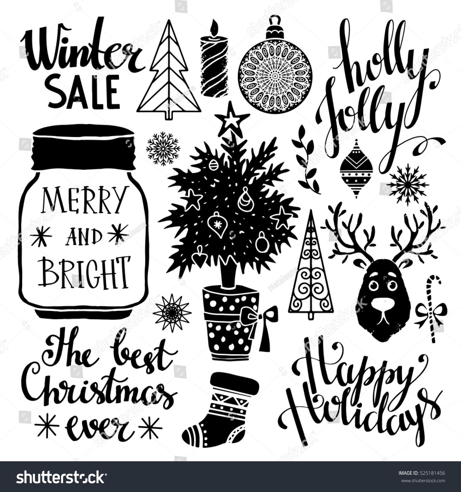 Christmas New Year Set Tree Stocking Stock Vector Royalty Free