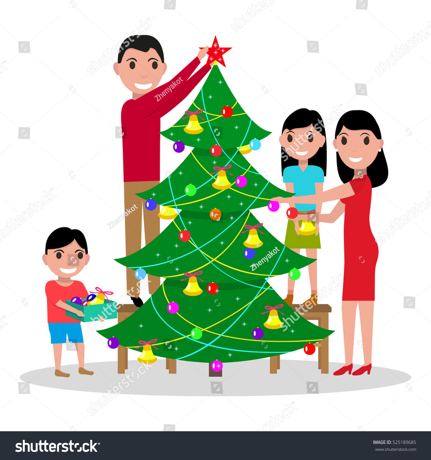 Vector Illustration Cartoon Happy Family Decorates Stock ...