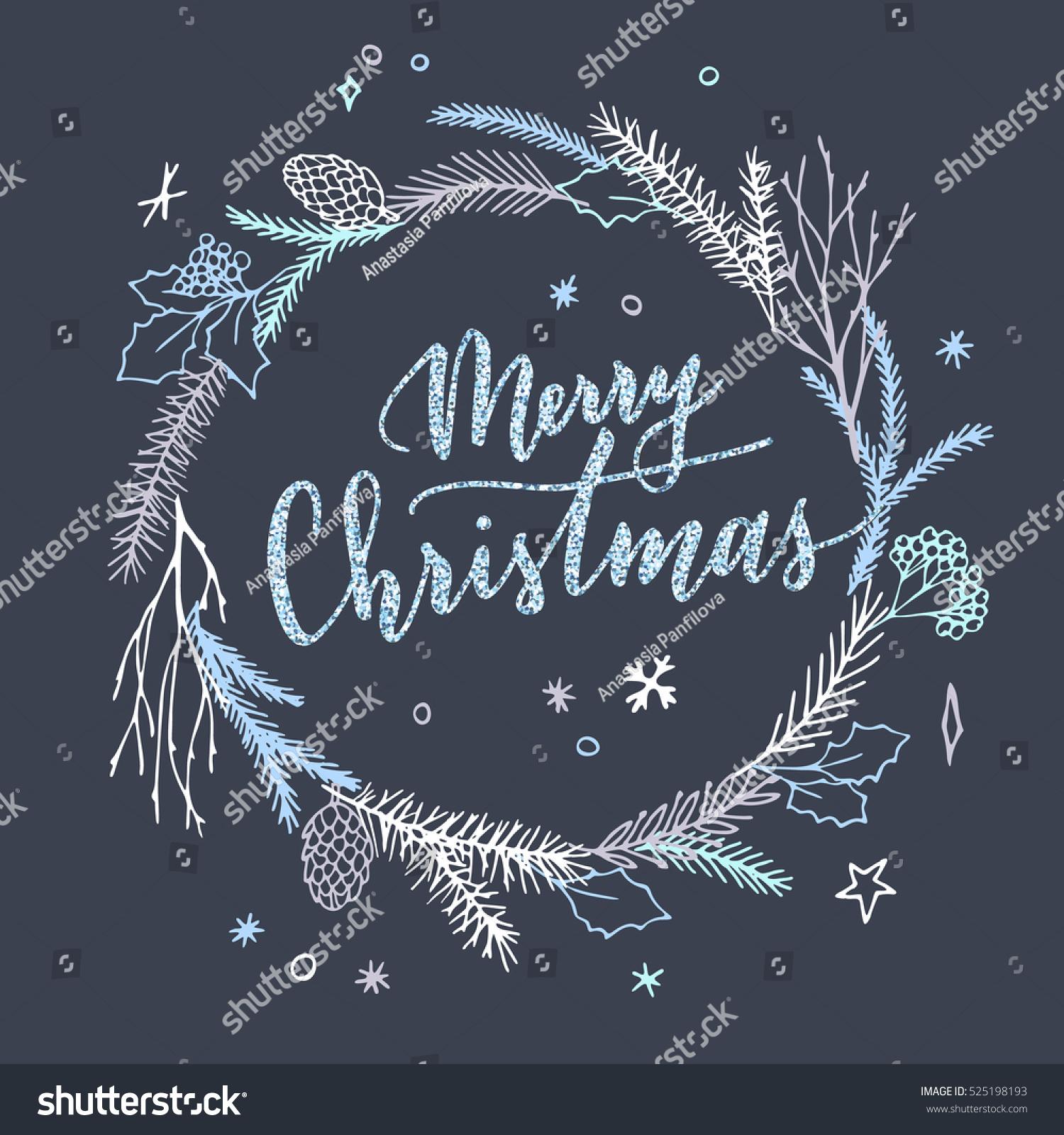 Vector hand drawn christmas card elegant minimalist for Minimalist christmas