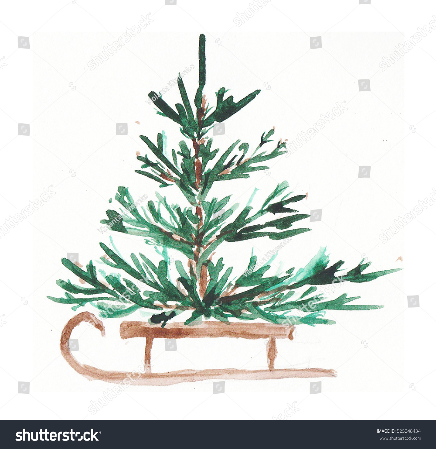 Watercolor Christmas Tree Stock Illustration 525248434 - Shutterstock