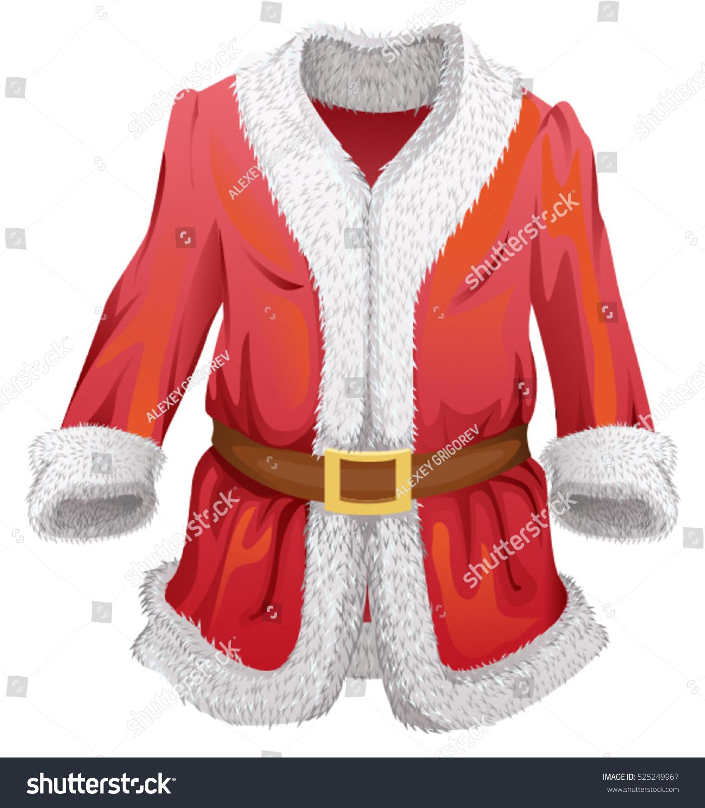 red fur coat of santa claus isolated on white vector cartoon illustration - Santa Claus Coat