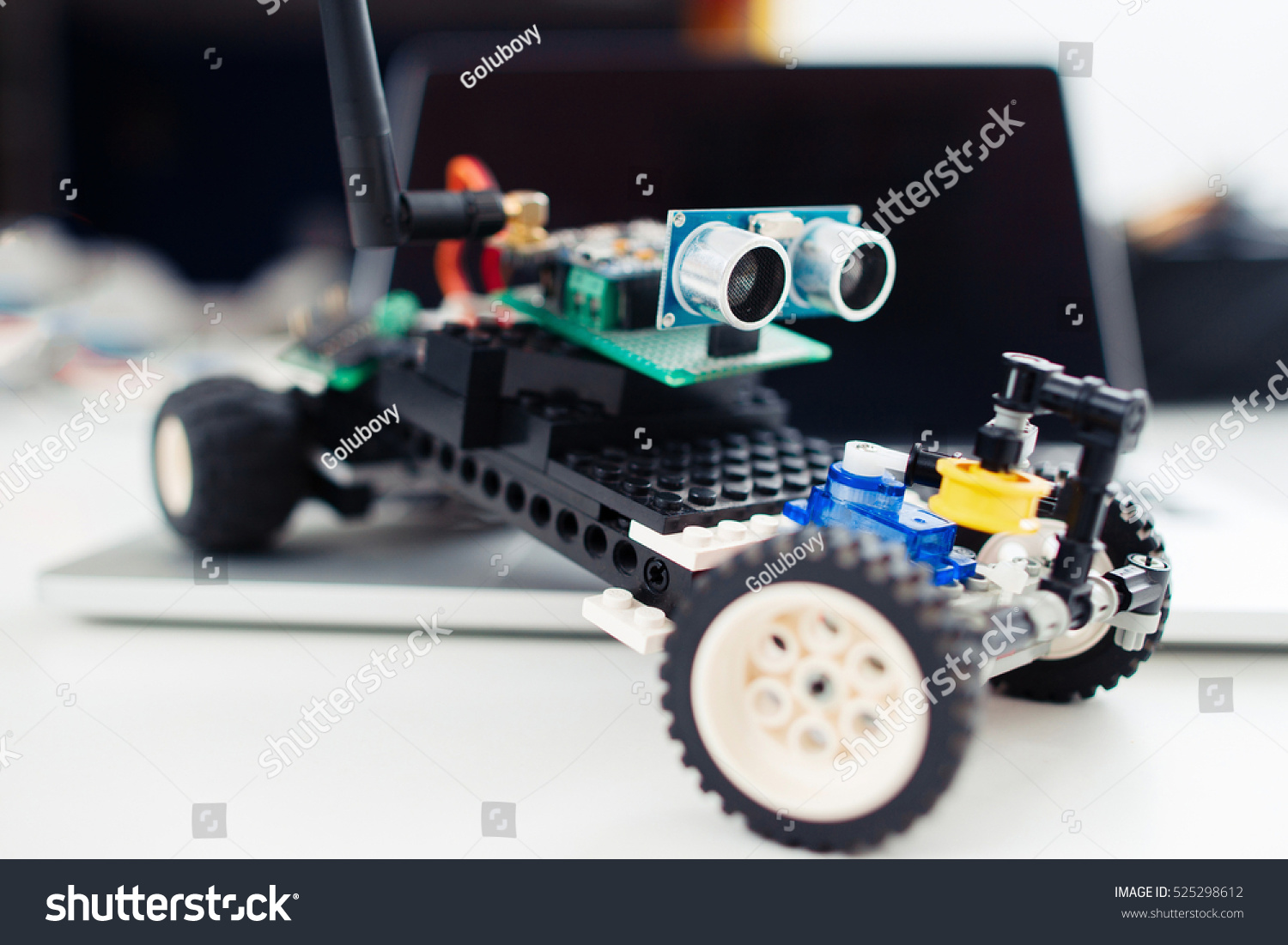 Closeup Little Handmade Toy Car Children Stock Photo Edit Now Remote Controlled Circuit With Transceiver Module Close Up Of Auto Made From Construction And Electronic